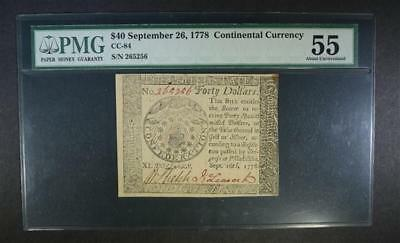 1778 $40 CONTINENTAL CURRENCY PMG 55 Lot 131