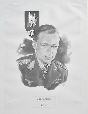 Oberstleutnant Helmut Lent Limited Edition 147/500 Sketch Print Signed by Artist