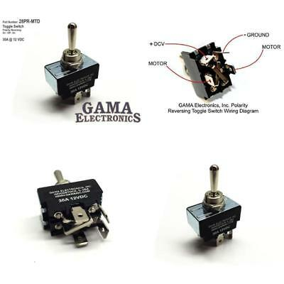 30 Amp Toggle Switch 3 Position Reverse Polarity Dc Motor Control- Maintained