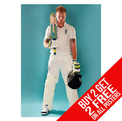 Ben Stokes Poster Cricket Print A4 A3 Size -Buy 2 Get Any 2 Free