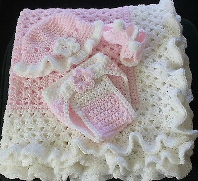 Pink / White Ruffle Hand Crochet Baby Blanket w/ lots of extras