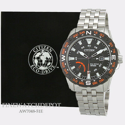 Authentic Citizen Eco-Drive Men's PRT Stainless Steel Watch AW7048-51E