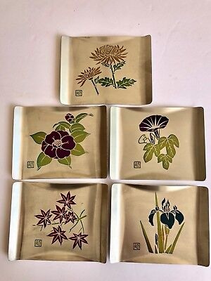 Rare Vintage 5 Mid Century Nissho Iwai Sushi Sauce Dishes Etched Floral 1960's