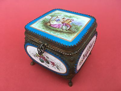 ANTIQUE SEVRES STYLE PORCELAIN & ORMOLU CASKET or JEWELLERY BOX circa 1880
