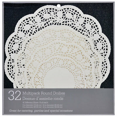 """32 Round Paper Crochet Doily Doilies 4 Different Sizes 6"""" 8"""" 10"""" 12""""inches White"""