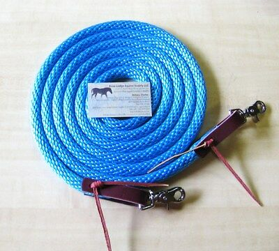 Rose Lodge 9' TURQUOISE Aqua Blue Poly Rope Barrel Roping Trail Horse REINS USA