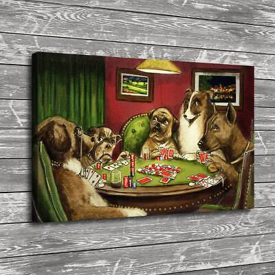 Dogs Playing Poker Home Decor HD Canvas Print Picture Room Wall Art Painting