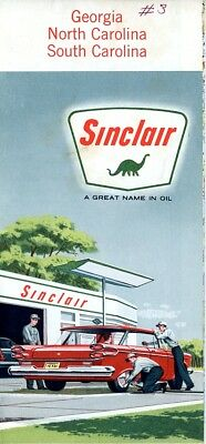 Vintage Sinclair Oil Road Map Georgia North Carolina South Carolina 1960