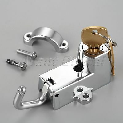 1x 22mm Motorcycle Chrome Mount Helmet Lock w 2 Keys 22mm Handlebar Hanger Hook