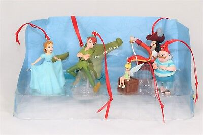 Disney Authentic Peter Pan Christmas Ornaments 6pc Set Hook Wendy Tinker Bell