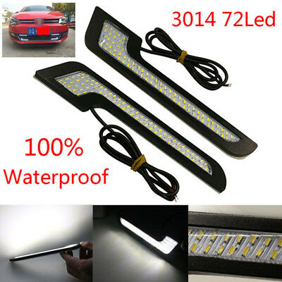 Pair 72 LED DRL Daytime Running Lights Styling Super Bright External Car Driving