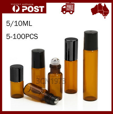 5-100PC Roller Rollerball Perfume Essential Oil Roll On Ball Amber Glass Bottle