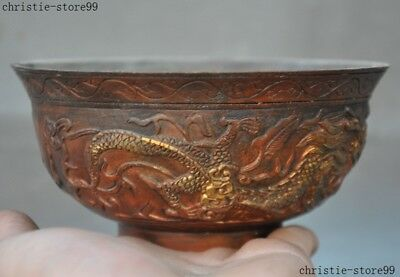 """5""""Marked Old Chinese Dynasty Bronze Copper Gilt Phoenix Bird Statue Tea cup Bowl"""