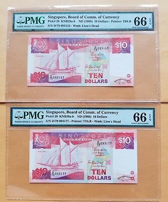 $10 X (2) <1988> Singapore Board of Comm.of Currency PMG 66