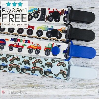 Monster Truck Dummy Clip - Pacifier Clips - Soother Chain - Binky - Baby Gift