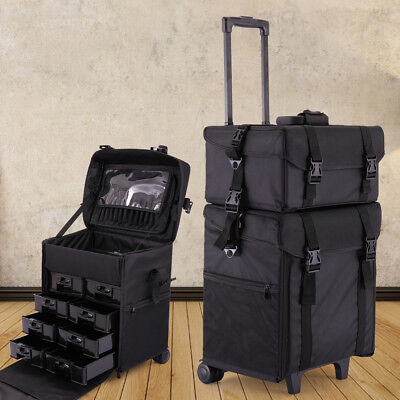 2 in 1 Makeup Case Train Box Cosmetic Organizer Rolling Luggage Trolley Bag Mult
