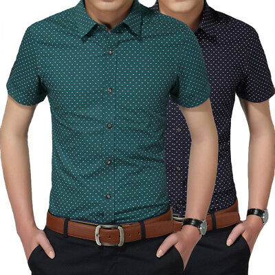 New Clothing Men Short Sleeve Shirt Polka Dot Slim Fit Cotton Casual Dress Shirt