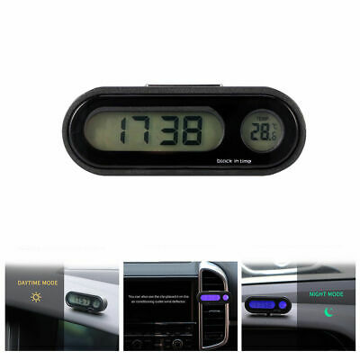 Mini 2in1 Clip-on Digital LCD Thermometer + Clock For Car Home Motorcycle Sale