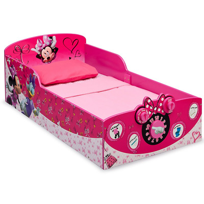 Disney Minnie Mouse Theme Wooden Toddler Bed, Girls Bedroom Decoration, Pink