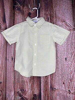 Janie and Jack Toddler Boy Button Down Shirt Yellow Gray Striped size 3