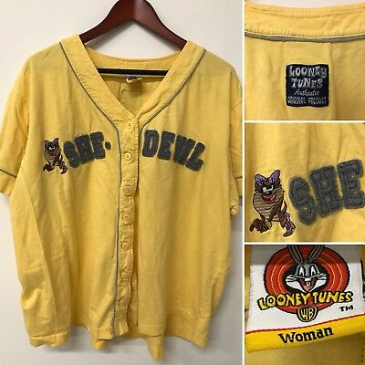 VTG Looney Tunes Women's XL 2XL She Devil Yellow Jersey Top 2001