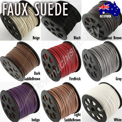 2.5m (3x1mm) Faux Suede Lace Cord Imitation Leather Thread String Jewellery DIY