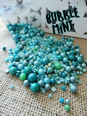 45g BUBBLE MINT DELUXE BLEND SPRINKLES TURQUOISE TEAL GREEN CUPCAKE DECORATIONS