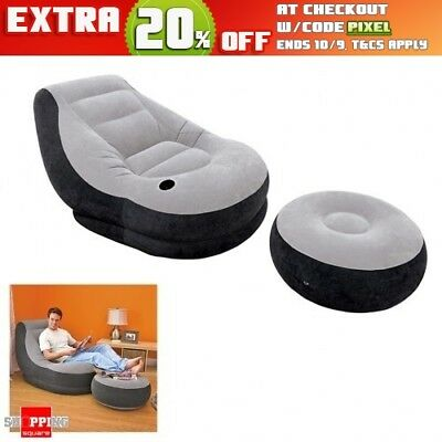 New Inflatable Sofa Flocking Single Couch/Chair with Ottoman Furniture Grey