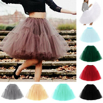 6 Layers Women Tutu Tulle Skirt Petticoat Wedding Ballet Dress Party Costume xin