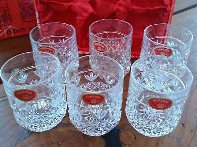 VINTAGE Bohemia HAND CUT Crystal- 6pcs-Whisky/Water Glasses in original box