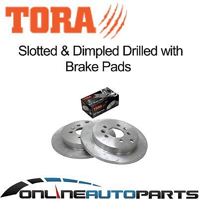 2 Rear Slotted+Drilled Disc Rotors + Brake Pads Ford Falcon BA BF 2002-2012 XT