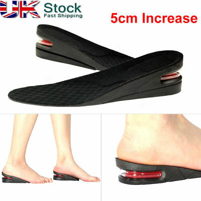 5cm 2 Layer Shoe Height Increase Heel Lifts Insoles Taller Air Bubble Cushion UK