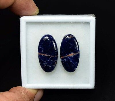 23.85 Cts. 100% Natural Pair Of Multi Sodalite Oval Cabochon Loose Gemstones