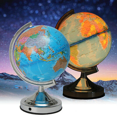 20cm Illuminated Rotating Earth Globe World Map Dimmable Night Light Table Decor