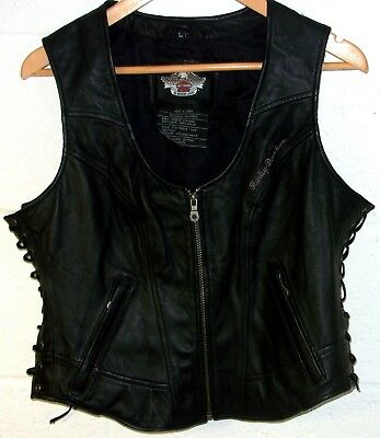 Women's Large Harley-Davidson Leather Vest Waistcoat Genuine Motorcycle