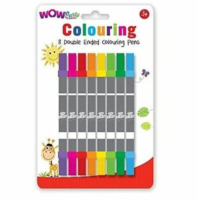 Double Ended Colouring Pens Pack of 8 Arts Crafts Children