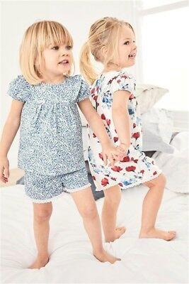 BNWTS NEXT Baby Girls 2 Pack Floral Short Pyjamas Pyjama Nightwear 9-12months