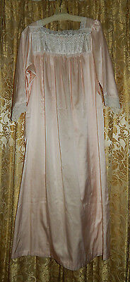 Vintage Christian Dior Silky Nightgown Pink With White Lace 3/4 Sleeve