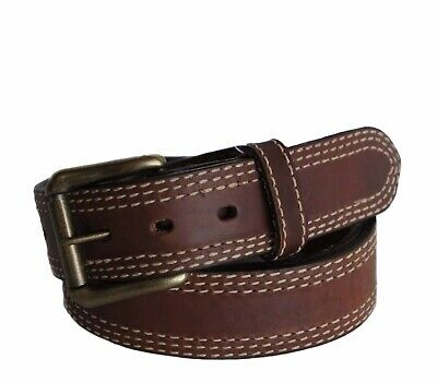 "R.G. BULLCO USA Made RGB-113 1-1/2"" Triple Stitch Tan Leather Belt - Size 32"