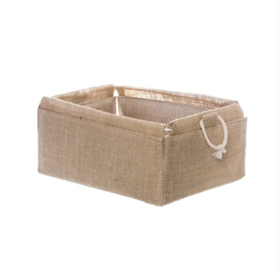 Natural Jute Tray Rectangle Folded Basket Hamper (26x17.5x10cmH)