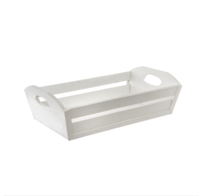 White Wooden Tray Rectangle Taper Basket Hamper (32x20x10cmH)