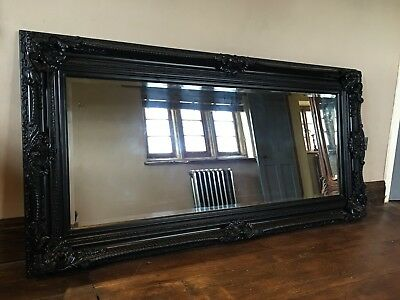 Matt Black Ornate Large French Boudior Statement Overmantle Wall Mirror 4ft