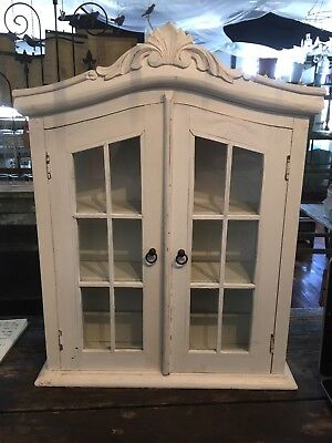 Antique White Distressed Wood Cabinet Glass Panel Doors