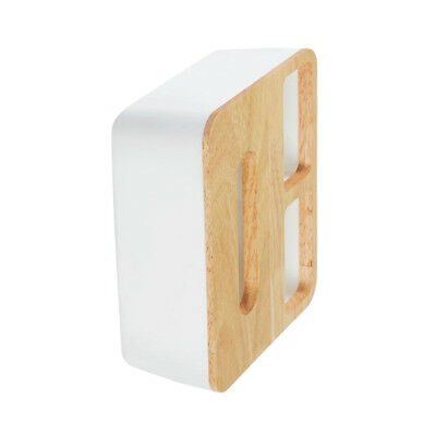 Home Tissue Box Holder Square Oak Wood Paper Cover Napkin Case 22x19x9cm 2