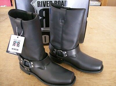 Mens River Road Traditional Harness Boots Black Size 9.5