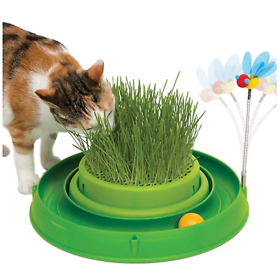 Catit Circuit Ball Cat Toy with Grass Planter 3 in 1