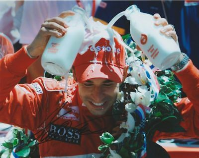 """Helio Castroneves signed """"Milk Bath"""" Indy 500 Win Indy Car 8x10 Photo"""