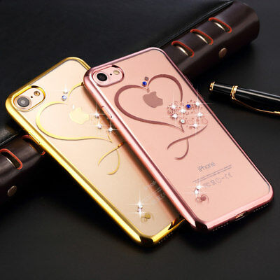 Bling Diamond Cute Heart Plating Clear Case Cover For iPhone XS Max XR 5 6S 7 8