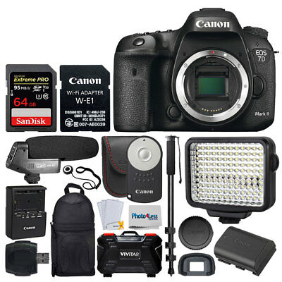 Canon EOS 7D Mark II Digital SLR Camera Body Wi-Fi Adapter Kit + 64GB + More Acc