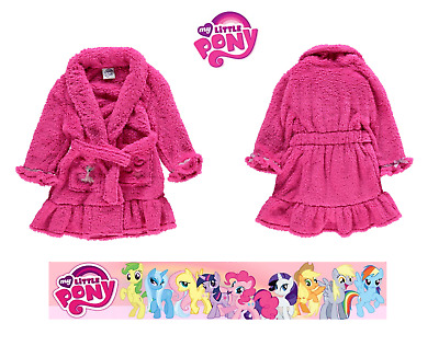 Official My Little Pony Girls Fluffy Dressing Gown Bathrobe Xmas Nightwear 3-8 Y